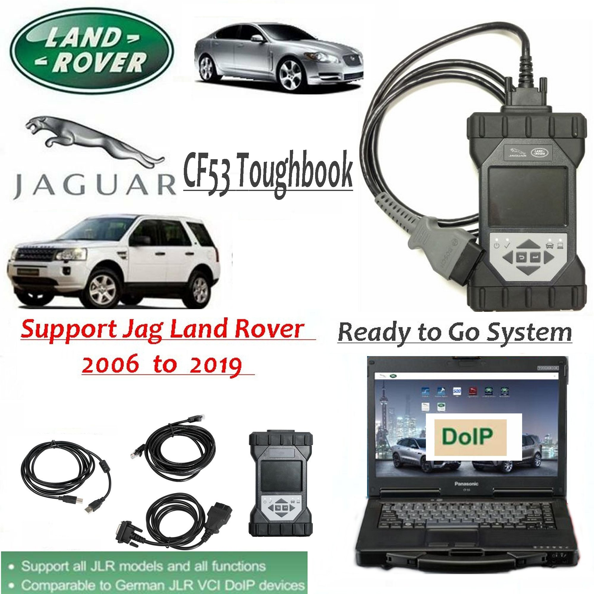Original JLR DoiP VCI SDD Pathfinder Interface Plus Panasonic CF53 Laptop for Jaguar Land Rover from 2005 to 2019+   Ready to go Laptop for SDD Pathfinder